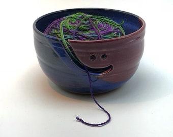 Yarn bowl, pottery bowl, pottery yarn bowl, ceramic yarn bowl, knitting bowl, crochet bowl, blue bowl, blue yarn bowl, clay knitting bowl