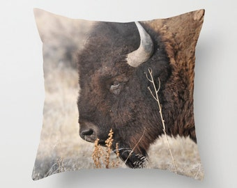 Bison Pillow, Throw Pillow, Cabin Decor