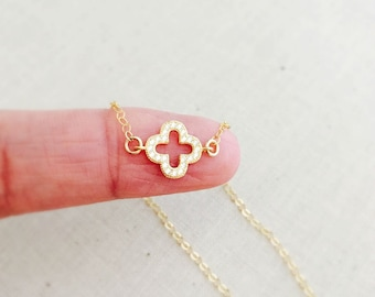 Gold Clover Necklace, CZ Clover Necklace, 14k Gold Filled Chain, Tiny Clover Charm Necklace, Birthday Gift, Dainty Necklace
