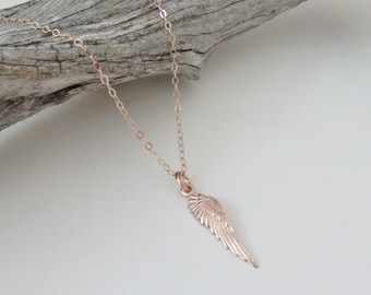 Rose Gold Wing Necklace, angel wing necklace, guardian angel, wing necklace, sympathy gift, memorial jewelry, minimalist, condolence gift