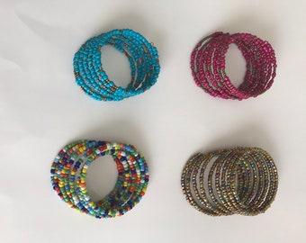 Beaded spiral bracelets