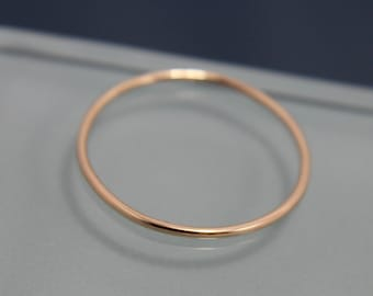 Thin Gold Ring 14k SOLID Yellow Gold Thin 1mm Stacking Band Ring Smooth Shiny Finish Eco Friendly Recycled Gold