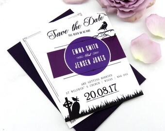 Gothic wedding stationery, Dark wedding stationery, Alternative wedding invitation, Halloween wedding save the date, Skull wedding invit