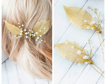 Set of 2 Bridal hair pin Gold hairpin Bridal hairpin Leaves hair pin Crystals hairpins Gold Hairpiece Wedding hair pin