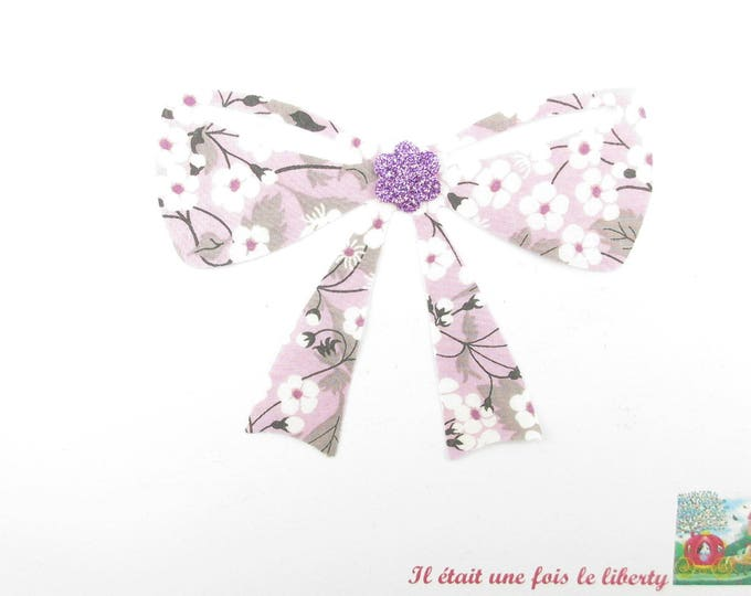 Applied fusing node liberty Mitsi purple glitter flex liberty fusible applique bow badge patch iron on bow