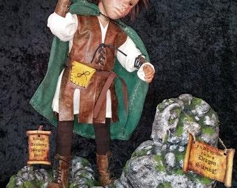 "OOAK polymer clay artist doll, ""Knight Training Begins Here"" pixie, fairy, gnome, dragon by Lori Platt The Pixie Knoll"