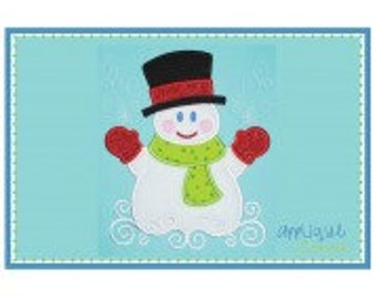 SnowMan with Hat & Scarf Applique Shirt or Onesie Boy or Girl