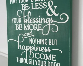 St. Patricks Day Wooden sign - Hand painted green Irish sign - Irish Blessing - green and white Irish wooden sign - St. Paddy's day sign -