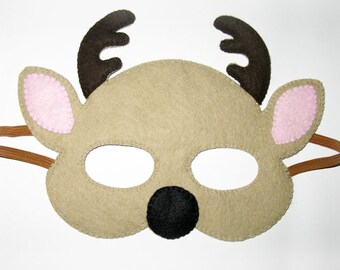 Deer Doe felt mask for kids / light brown / party costume / for boys girls / soft dress up play accessory / Theatre roleplay / Photo prop