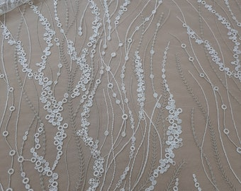 Ivory lace fabric with silver, Embroidered lace, French Lace, Wedding Lace, White Lace, Veil lace, Lingerie Lace, Alencon Lace RK8002