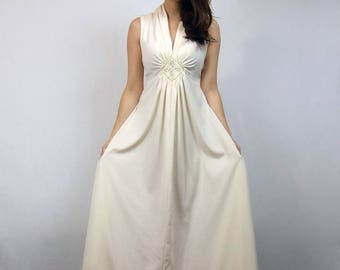 70s Long Bohemian Dress Off White Ivory Gold Goddess Maxi - Medium to Large M L