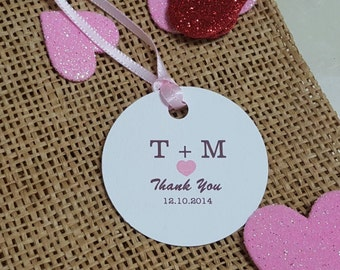 "Personalized Favor Tags 2"" Wedding tags, Thank You tags, Favor tags, Gift tags, Bridal Shower Favor Tags,"