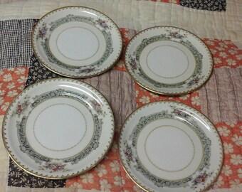 Vintage set of 4 Mieto Dexter(Orleans Shape) Dessert Plates Occupied Japan