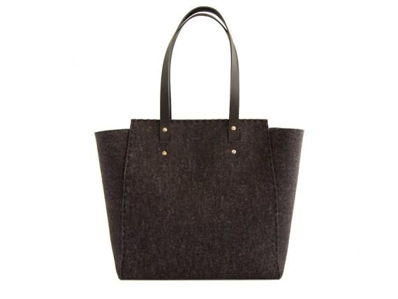 Extra large Felt TOTE BAG / black felt tote bag / black felt shopper / felt shoulder bag / carry all bag / made in Italy