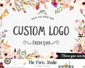 Floral Watercolor Logo Design Pay As You Go Custom Logo Design Website Logo Blog Logo Business Branding Boutique Logo Wedding Monogram Logo