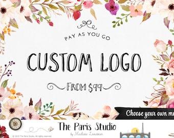 Blumen Aquarell Logo Design Prepaid Custom-Logo-Design-Website Logo Blog Logo Business Brandstempel Boutique-Logo-Hochzeit-Monogramm-Logo