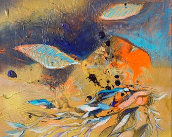 Symphony Gold - Оriginal Small box painting, abstract landscape, acrylic & spray paint, orange, blue, golden painting 30x30 cm (11.8x11.8')