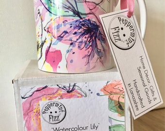 Mug Bright Multicoloured Summer Floral Lily Water Colour Cup, gift for her, gift for mum, teacher gift, printed flowers 11oz ceramic mug