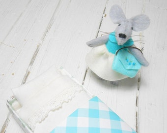 Felt mouse  stuffed animal hand made doll miniature animal felted mouse kids birthday gift mouse in matchbox felt doll girl gift turquoise
