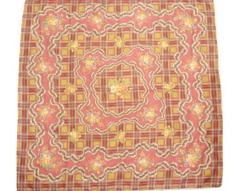 Vintage 1980s Laura Ashley Scarf Tartan Wool Silk Blend Scarf / Autumnal Colours / Yellow Roses