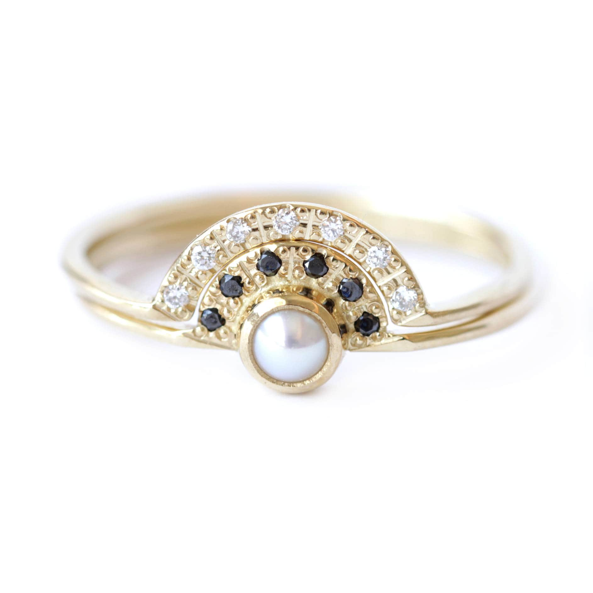 pearl engagement ring bridal wedding ring set alternative