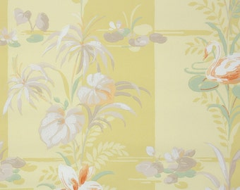 1950s Vintage Wallpaper by the Yard - Yellow Stripe Orange and White Swan Water Lilies