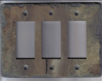 Decorative Slate Switch Plate 3 Triple GFI GFCI Outlet Rocker Decora Light Switchplate Wall Plate Stone Rustic TGFI
