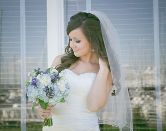 """Veil with pearls wedding veil 32 inch one tier veil with pearls bridal veil """"Gracie"""""""
