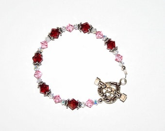 Ruby and Rose Swarovski Crystal Bracelet with Sterling Silver findings