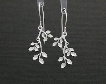 Silver Branch Leaf Earrings