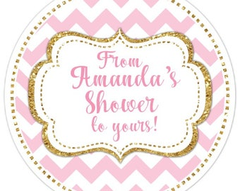 48 Gold and Pink Wedding Shower Stickers, From Bride's Shower to Yours, 2.5 inch round, Wedding Shower, Bridal Shower Favor