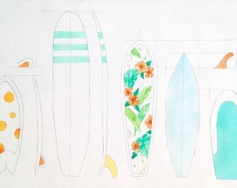 Custom Artwork - Surfboard Quiver Art - Surfer Gift - Custom Print - Original artwork from your photo in watercolour & etching