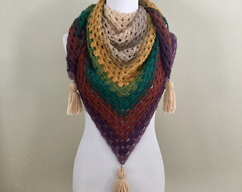 Handmade vintage boho gypsy hippie granny square  crochet triangle scarf shawl wrap with tassels metal beads and 70s colors
