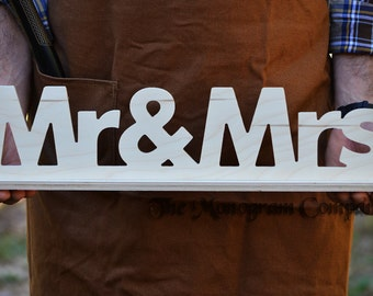 Mr mrs wedding signs for sweetheart table wooden letters diy do it yourself wood wooden wedding reception mr and mrs sign 6 solutioingenieria Image collections