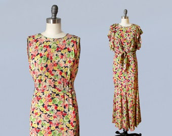 1930s Floral Gown / 30s Lemon Lime Pink Garden Party Dress and Jacket Set / Cropped Tie Jacket / Ruffle Sleeve
