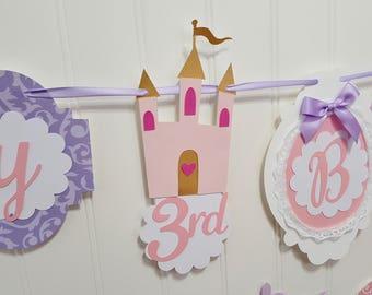 Princess castle birthday banner, royal party decoration, decorative princess sign, shabby chic, custom colors, cake smash, photo prop