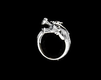 Asian Dragon Ring in Sterling Silver