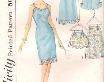 Sewing Pattern for Misses'  Slip - Half Slip- Panties - Simplicity 4218 - Misses' Size 12, Bust 32, Waist 25, Hip 34 -  Vintage 1960s