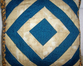 Teal and Cream Patchwork Pillow