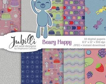 Happy Bears Digital Paper, 8.5x11 Digital Paper, Gelatin digital, Fruity digital, Jelly Molds digital, Bear digi, Scrapbooking, Papercraft
