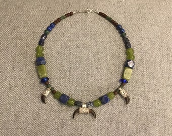Granulated Fine Silver Slavic / Viking / Rus Style necklace with Claw Pendants and Lunala, Lapis, Glass, and Gem Stone Beads (Medieval)