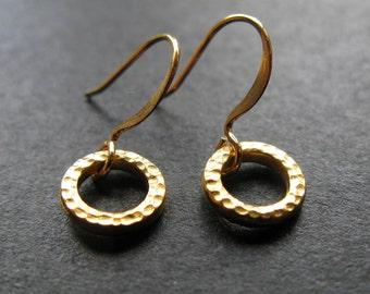 the Gilded Circle hammered 22K Gold plated karma circle of life earrings