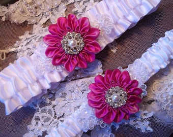 Wedding Garter Set with a Fuchsia Pink Daisy and Lace Daisies, Bridal Garter on White Satin