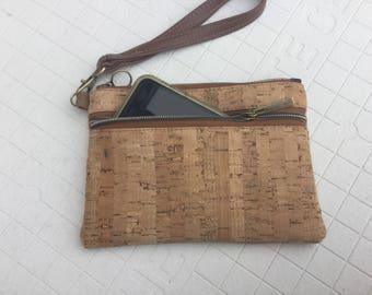 Cork, wristlet, wallet, natural, eco friendly