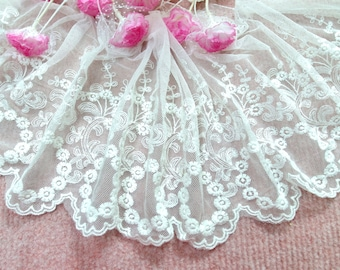 "CN019-7""  White  Embroidered  Tulle Mesh Lace/Bridal/Lolita/  Trim by Yard"
