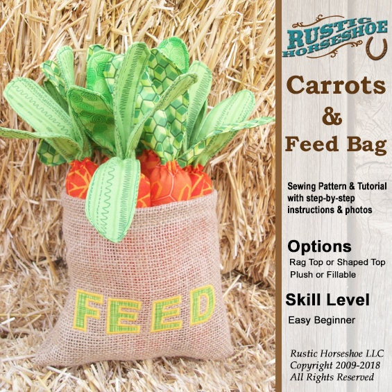 Rag Top Carrots Shaped Top Carrots And Feed Bag Pattern And