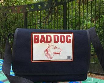 Black Canvas Bad Dog Courier Bag, Vegan Cross Body Messenger Bag