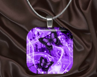 Purple Butterfly Glass Tile Pendant with chain(CuBu2.7)