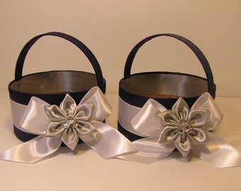 Wedding Flower Girl Basket Purple,White and Silver  -Customize