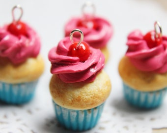Cherry Cupcake Necklace - polymer clay food, miniature food, food jewellery, food necklace, handmade gift, handmade jewellery
